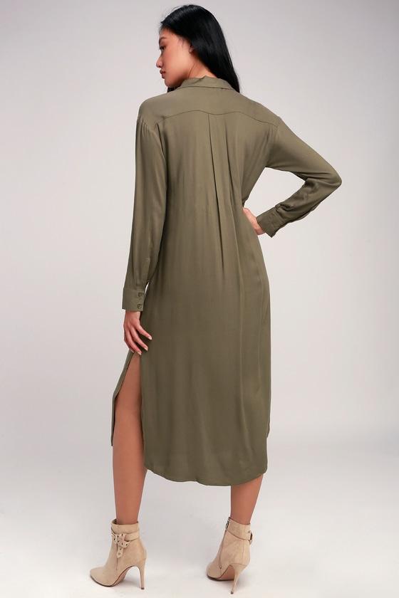 2594f0661c0169 Chic Olive Green Dress - Long Sleeve Dress - Midi Shirt Dress