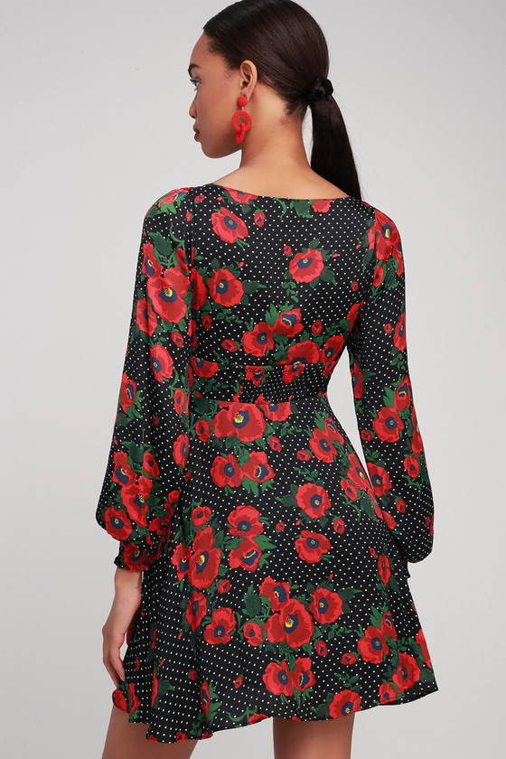 cdda70249bf1 Free People Morning Light - Black Print Dress - Long Sleeve Dress