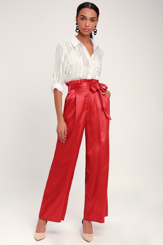 a6fd7f288f Chic Red Striped Pants - Red Striped Satin Pants - Wide-Leg Pants
