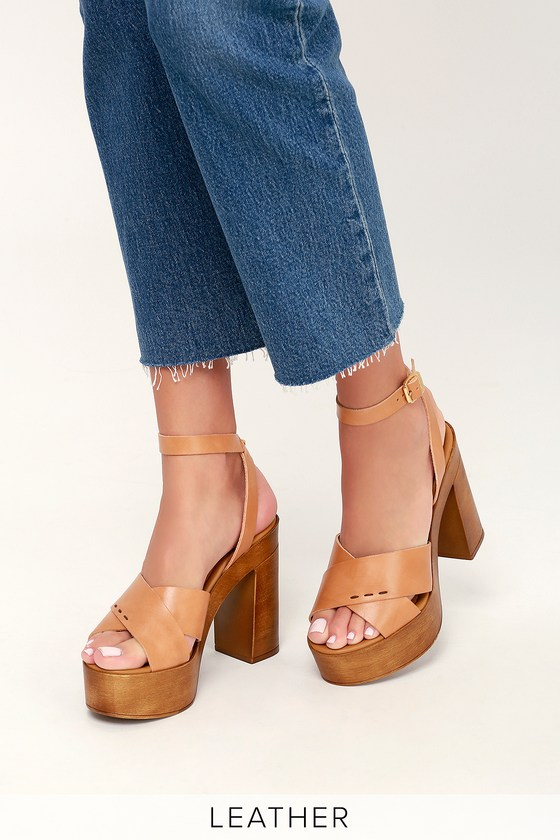 2a74adba6713 Steve Madden Liliana - Tan Leather Heels - Leather Platform Heels
