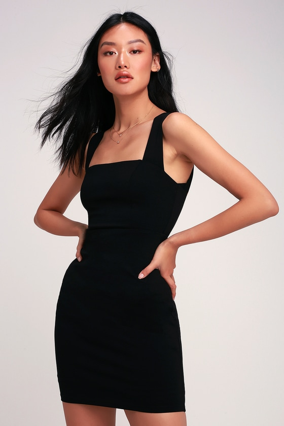 Sip of Champagne Black Square Neck Bodycon Dress