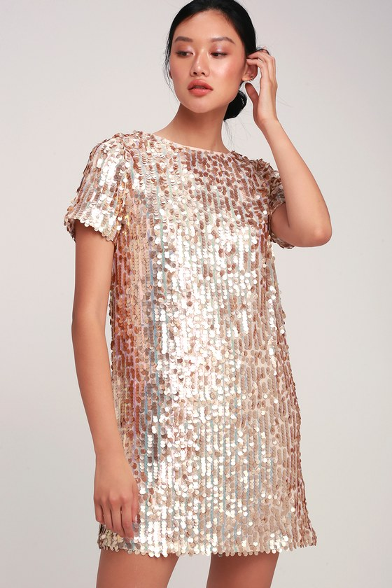 26b34bc4bb1 Cool Blush Dress - Sequin Dress - Sequin Shift Dress - Pink Dress