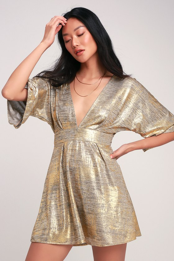 Lucy Love Light Lounge - Gold Dress - Backless Skater Dress 31642f291