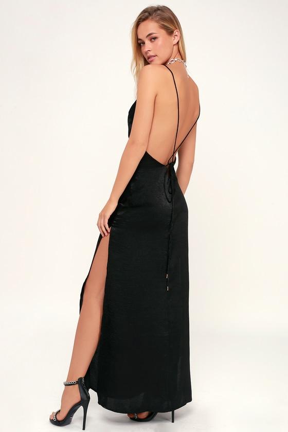 2e494cc6f38 Sexy Black Maxi Dress - Backless Satin Dress - Satin Maxi Dress