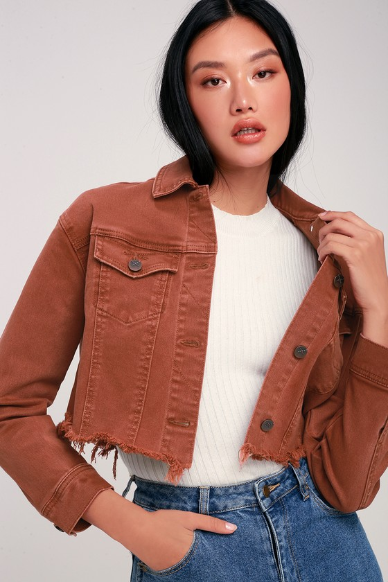53eeb6d47ad Unpublished Dre Jacket - Rust Red Jacket - Cropped Denim Jacket