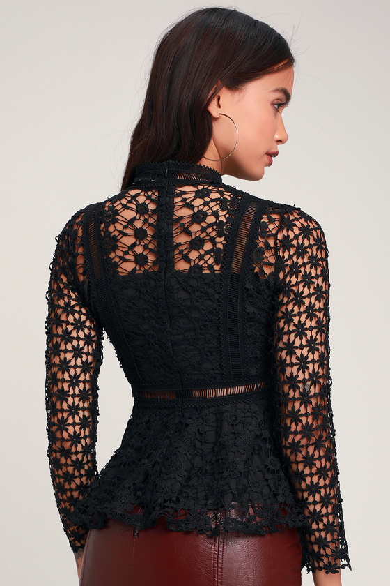 feab3cd590 Lovely Black Top - Lace Top - Peplum Top - Long Sleeve Top - Top