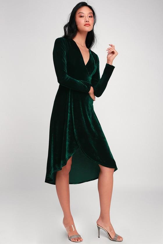 Silver Screen Emerald Green Velvet Long Sleeve Midi Dress - Lulus