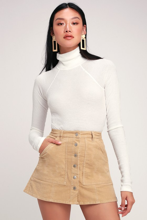 4276c1472 Rhythm Brighton - Beige Corduroy Mini Skirt - Button-Up Skirt