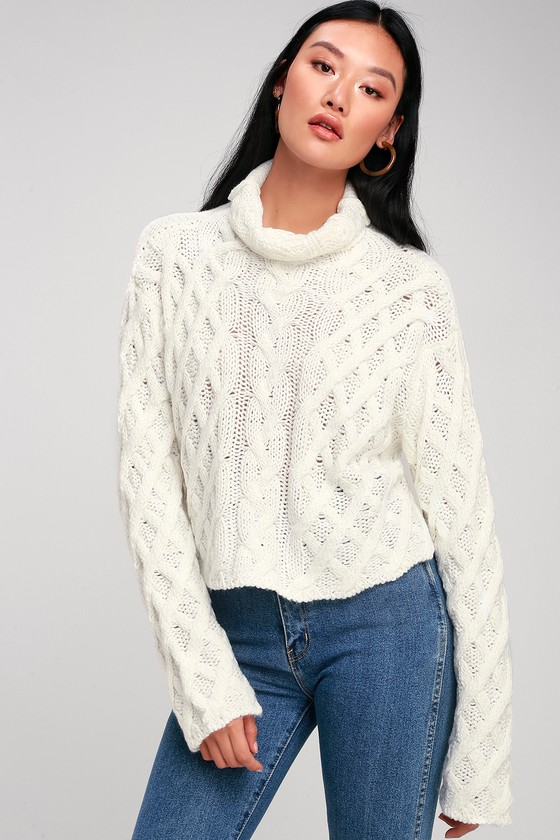 851d6345e0210 Cozy Cream Sweater - Cable Knit Sweater - Cowl Neck Sweater
