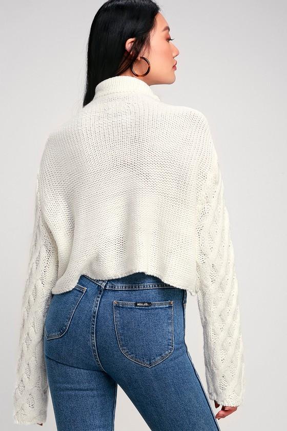 919574f2e51f5 Cozy Cream Sweater - Cable Knit Sweater - Cowl Neck Sweater