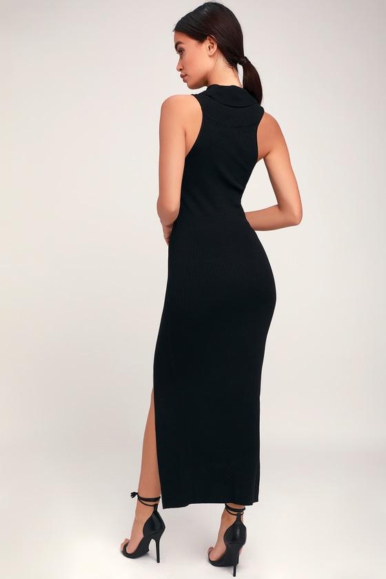 8a934c550155e Classic Black Dress - Sweater Dress - Sleeveless Midi Dress