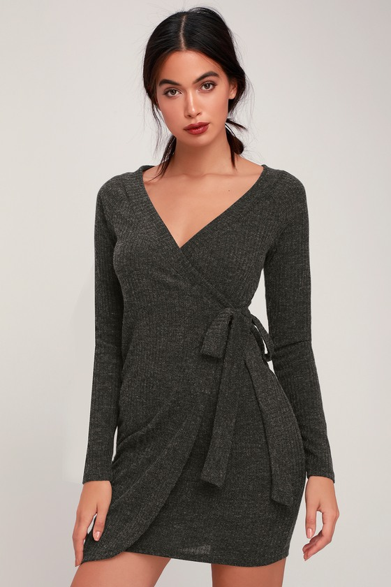 0c626669 All My Wisdom Charcoal Grey Ribbed Long Sleeve Wrap Dress