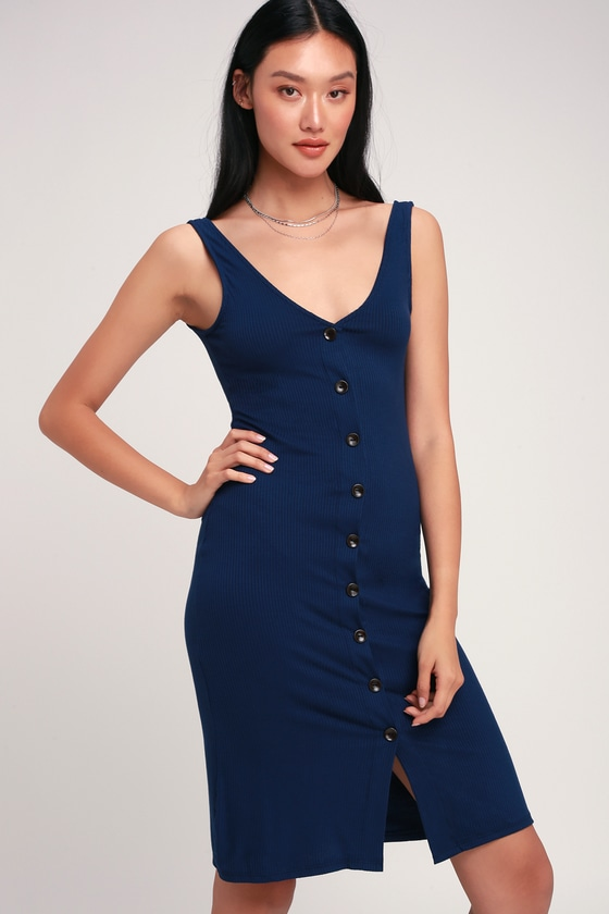 d6de524aa7c85 Cute Navy Blue Dress - Midi Dress - Ribbed Jersey Knit Dress