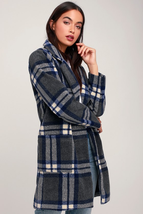 Women's 70s Shirts, Blouses, Hippie Tops Eleanor Blue and Dark Grey Plaid Coat - Lulus $128.00 AT vintagedancer.com