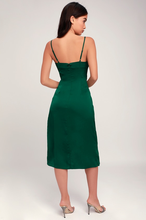 Forest Green Knee Length Dress