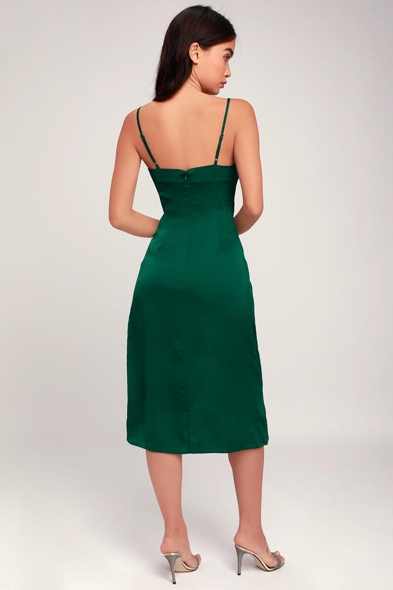 5c7a58228670 Sleek Forest Green Dress - Satin Dress - Midi Dress - Dress