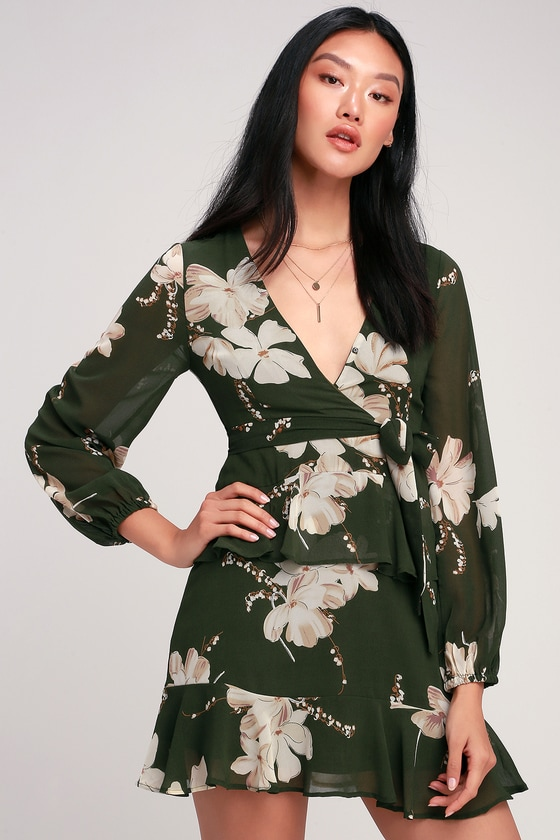 e537e6b732e51 Cute Olive Dress - Floral Print Dress - Long Sleeve Mini Dress