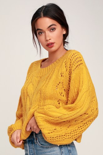 ae0463b401a Alden Mustard Yellow Cropped Balloon Sleeve Knit Sweater