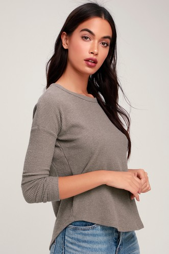 1d87cb8e586f2 Project Social T Baizen Taupe Ribbed Long Sleeve Top