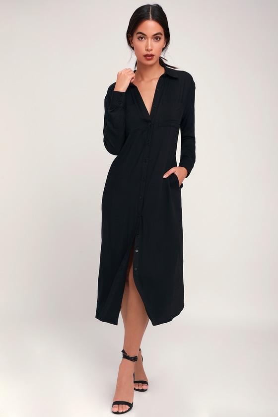 59400d46df8 Chic Black Dress - Long Sleeve Dress - Black Midi Shirt Dress