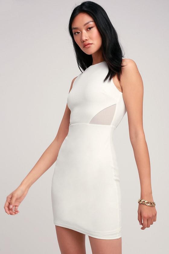 3c98a207851 Sexy White Dress - Mesh Cutout Dress - White Bodycon Dress - LWD