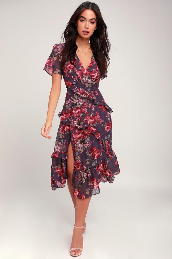 Pick Me Up Purple Floral Print Ruffled Midi Dress by Lulus