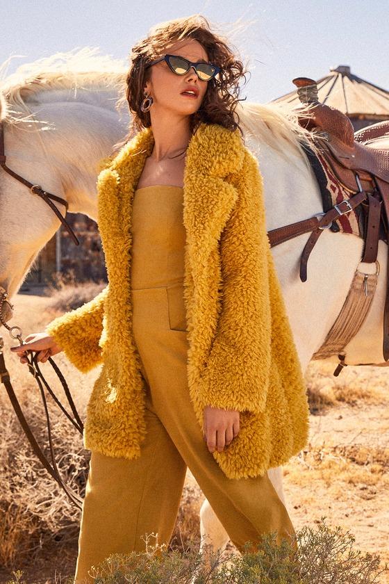 Women's 70s Shirts, Blouses, Hippie Tops Briella Mustard Yellow Faux Fur Coat - Lulus $89.00 AT vintagedancer.com