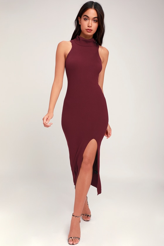 3efc0d9c00 Classic Burgundy Dress - Sweater Dress - Sleeveless Midi Dress