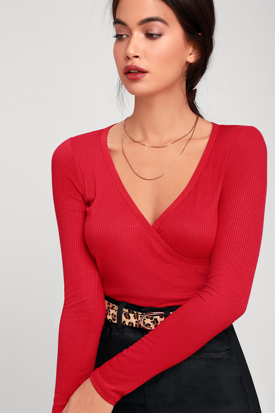 7fde0d19ba0 Project Social T Clarisse - Red Top - Red Long Sleeve Top