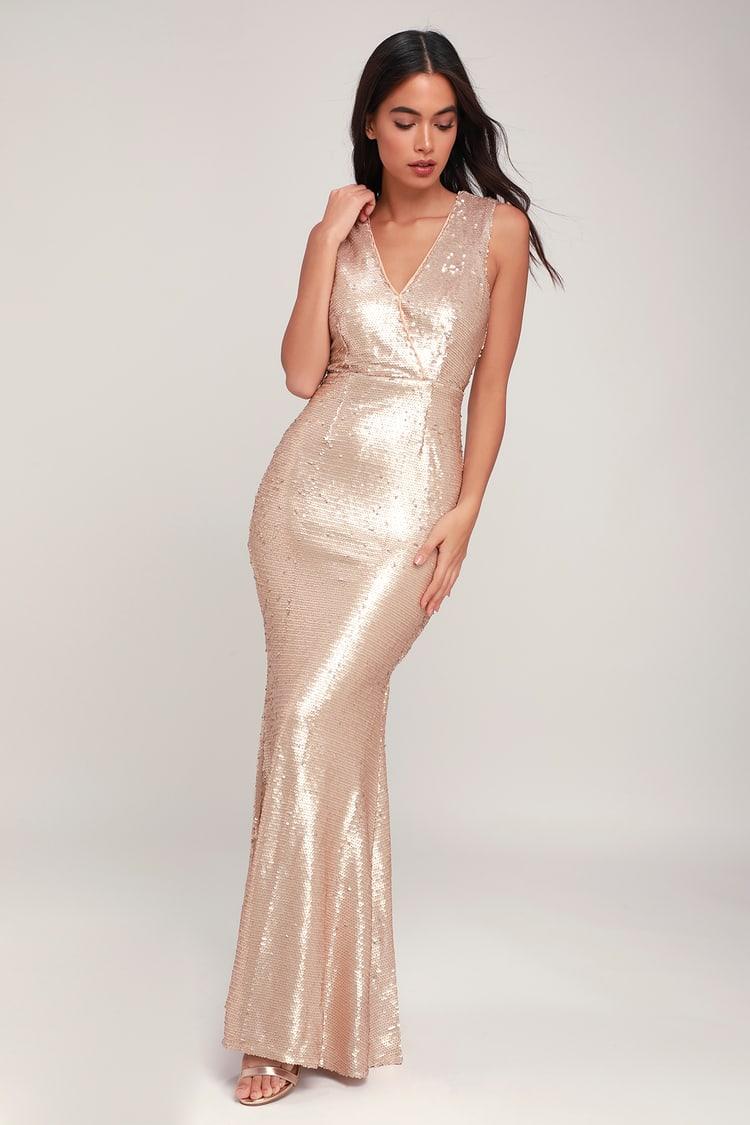 Lustrous Love Matte Light Gold Sequin Maxi Dress