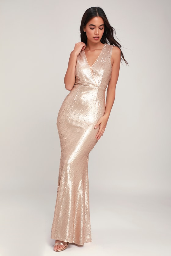 Lustrous Love Matte Light Gold Sequin Maxi Dress by Lulus