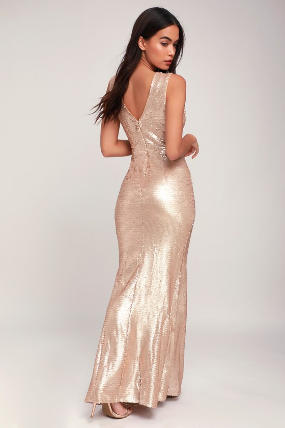 5114cdbfb7d1 Stunning Maxi Dess - Sequin Maxi Dress - Gold Maxi Dress