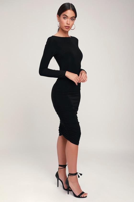 5f0f73318e4f Sexy Black Dress - Long Sleeve Dress - Ruched Dress - Black Dress