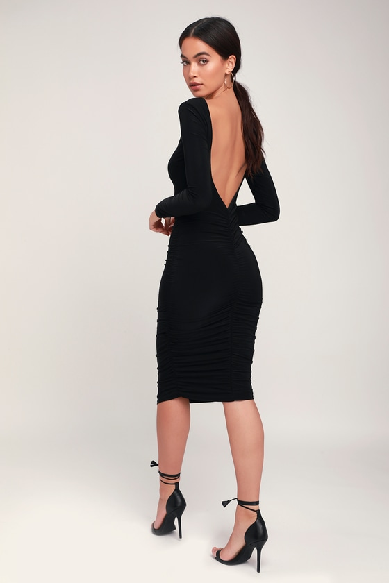 e1ec10bed3c Sexy Black Dress - Long Sleeve Dress - Ruched Dress - Black Dress