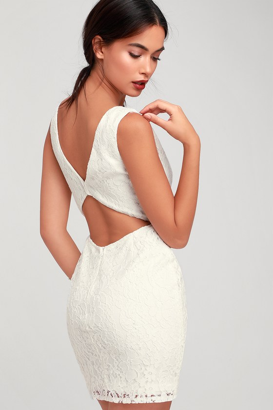 bc3aa58ea91 Cute Lace Dress - White Lace Dress - Cutout Dress - White Dress