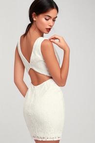 nevaeh white lace cutout mini dress