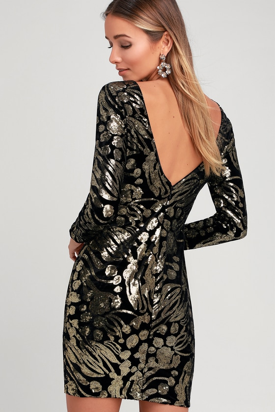 d8dce643c81c Dress the Population Lola - Black and Gold Dress - Sequin Dress