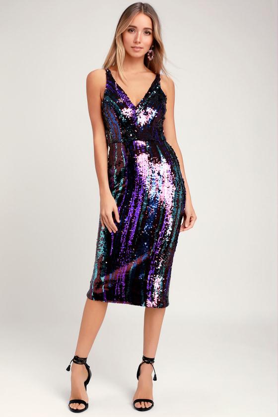 1960s – 70s Cocktail, Party, Prom, Evening Dresses Margo Purple Multi Sequin Midi Dress - Lulus $268.00 AT vintagedancer.com