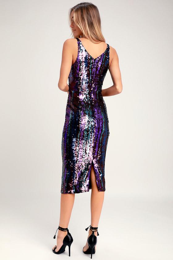 Dress the Population Margo - Purple Sequins Dress - Midi Dress 146fc6c01
