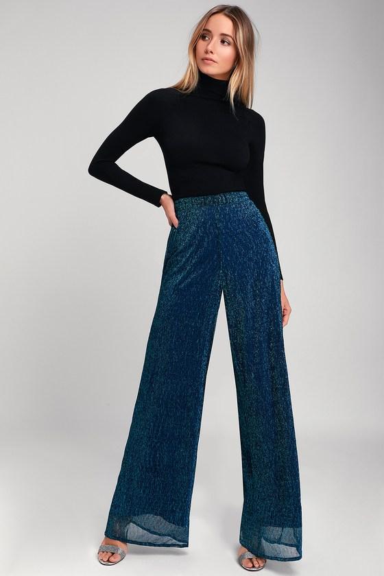 Magnificence Blue Metallic Wide-Leg Pants