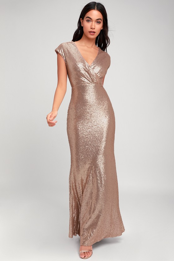 Always Remember Us Matte Gold Sequin Maxi Dress by Lulus