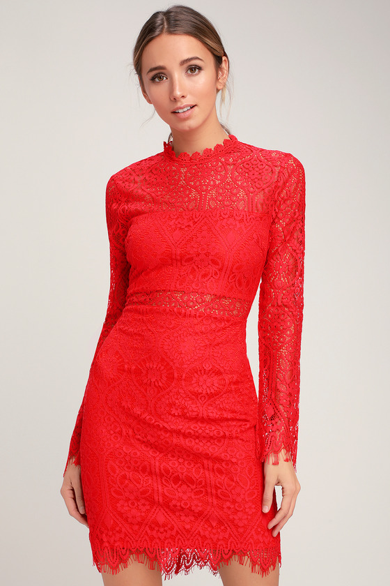 28064168c4 Appetite for Seduction Red Lace Long Sleeve Dress