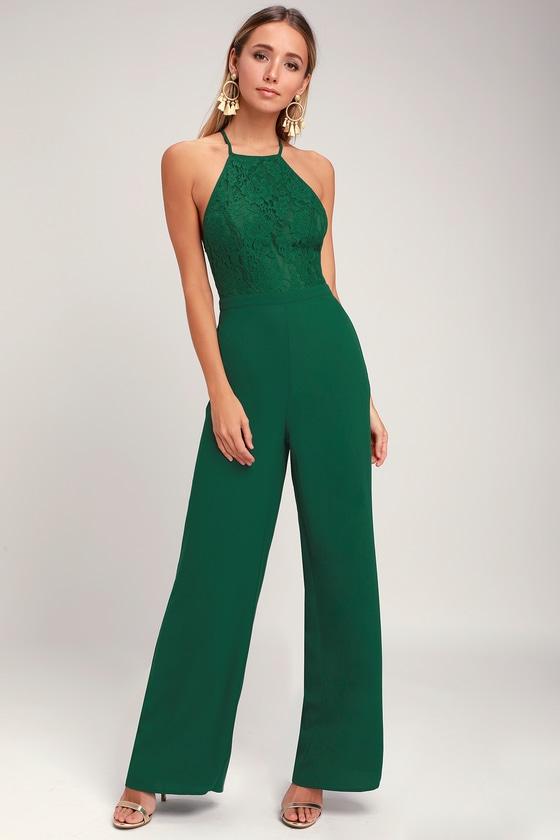 9f8bcb46ec2 Chic Lace Jumpsuit - Backless Jumpsuit - Forest Green Jumpsuit