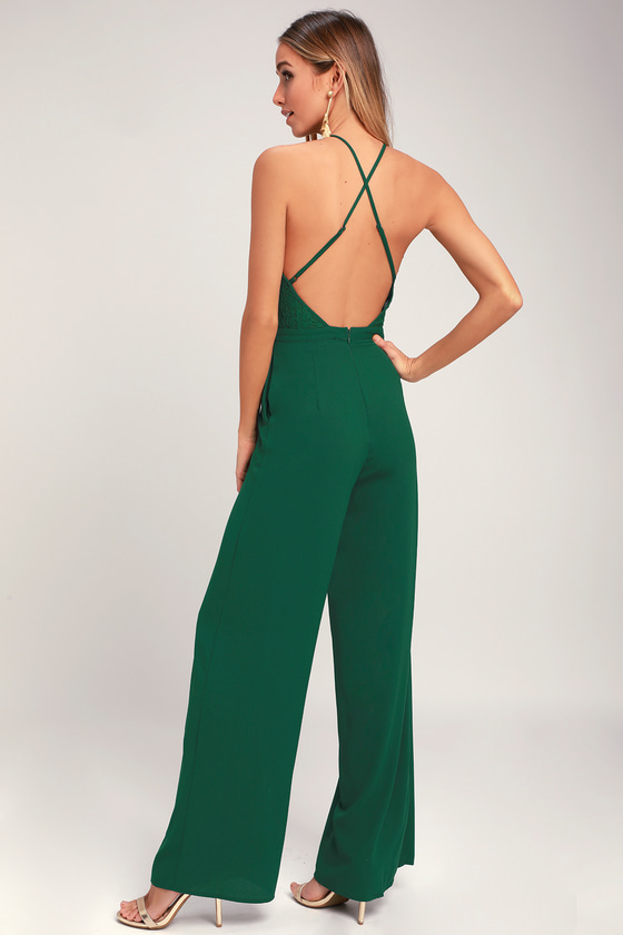 36b09142e8 Chic Lace Jumpsuit - Backless Jumpsuit - Forest Green Jumpsuit
