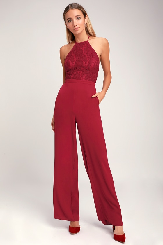 Stunna Wine Red Lace Backless Jumpsuit
