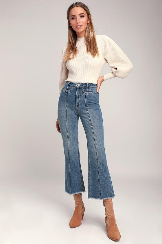 cca589e5efb Amuse Society Flying High - Medium Wash Jeans - Wide-Leg Jeans