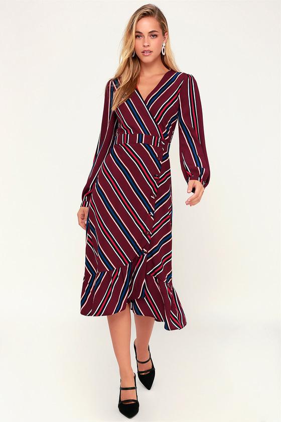 d323d1667a1c Lulus Burgundy Striped Dress - Button-Uo Dress - Midi Dress