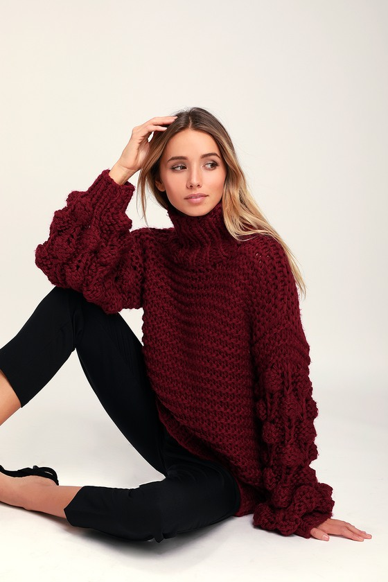 Cool Wine Red Sweater - Mock Neck Sweater - Pompom Sleeve Sweater 7bc284523
