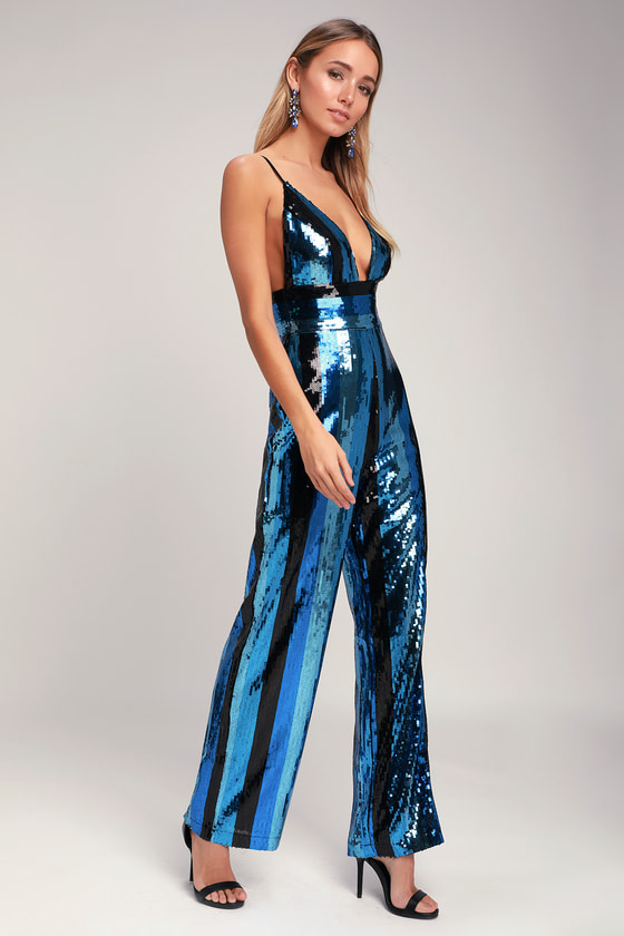 f624c803a08 Glam Blue Jumpsuit - Striped Sequin Jumpsuit - Sequin Jumpsuit
