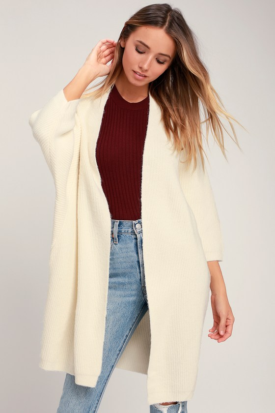 Cute Cream Cardigan - Cardigan Sweater - Batwing Sleeve Cardigan 555417b48